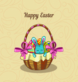 Greeting card with Easter bunny in a basket vector image vector image