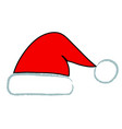 handdraw santa red hat icon stock vector image vector image