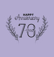 happy anniversary number seventy with wreath crown vector image vector image
