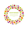 healthy vegetables banner template round frame vector image vector image