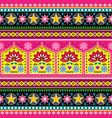 indian truck art floral seamless folk art pattern vector image vector image
