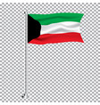 kuwait textile waving flag on transparent vector image vector image
