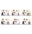 male business character in workplace set office vector image vector image