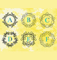 monogram template with flourishes calligraphic vector image vector image