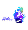 mother and daughter love silhouette goe happy vector image