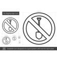 no digging sign line icon vector image vector image