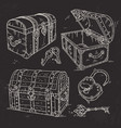 old pirate chests with lock and keys drawn on vector image vector image