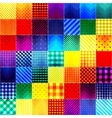 Patchwork of fabric in rainbow colors