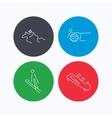 Pilates bobsled and horseback riding icons vector image vector image