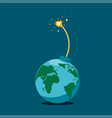 planet earth is like a bomb with a burning wick vector image vector image