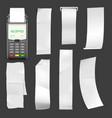 portable pos terminal template with blank checks vector image