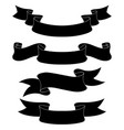 ribbon scrolls set black silhouette icons vector image