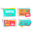 sale tags icons arrows and rectangle square vector image