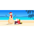 sandy christmas snowman with gift present boxes vector image