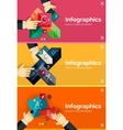 Set of infographic flat design banner with hands vector image