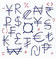 Set of simple hand drawn currency signs or symbols vector image