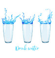 set three watercolor glasses with water vector image vector image