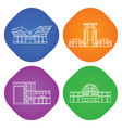 shopping center linear icons vector image