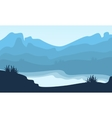Silhouette of hill and lake scenery vector image