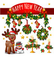 sketch cute christmas card with red ribbon bow vector image vector image