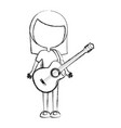 sketch draw women guitar cartoon vector image vector image