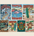 surfing and tropical vintage posters vector image vector image