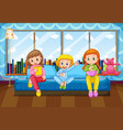 three girls eating and drinking in bedroom vector image vector image