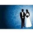 wedding couple blue background vector image vector image