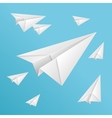 White paper planes on blue sky vector image vector image