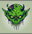zombie skull head green devil vector image vector image