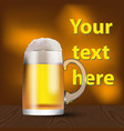 a glass mug with beer and foam banner cover vector image