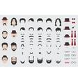 Different design elements of men face vector image