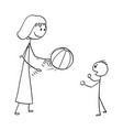 cartoon of mother playing with ball with son vector image