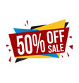 50 off sale banner design vector image vector image