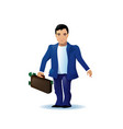 asian business man cartoon character run holding vector image