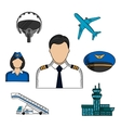 Aviation and aircraft color sketch icons vector image vector image