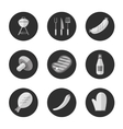Barbecue grill black and white round icons set vector image vector image