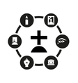 black funeral icon set vector image vector image