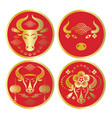 bulls logos emblems or stickers vector image