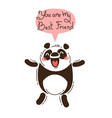 cheerful panda screams you are my best friend vector image vector image