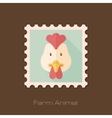 Chicken flat stamp Animal head vector image vector image