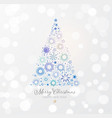 christmas tree made blue stars on white glowing vector image vector image