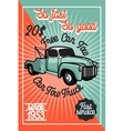 Color vintage car tow truck poster vector image vector image