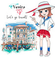cute fashion girl in venice italia vector image vector image