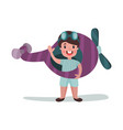 cute little boy in pilot costume playing with toy vector image vector image