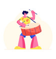 excited drummer playing music with sticks on drums vector image vector image