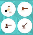 flat icon hammer set of tribunal government vector image vector image