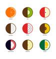 Fruit icon set flat design isolated on white