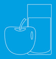 glass and apple icon outline style vector image vector image
