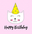 happy birthday background wuth little cute cat vector image